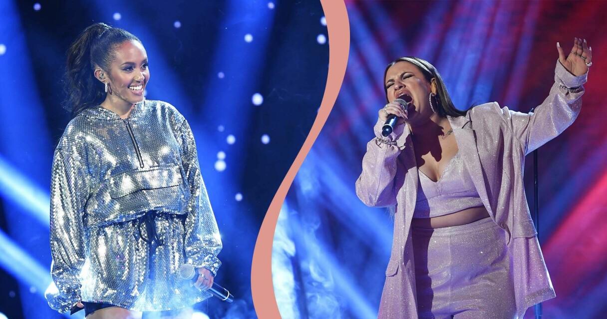 Nadja Holm och Paulina Pancenkov på Idol-scenen 2020.