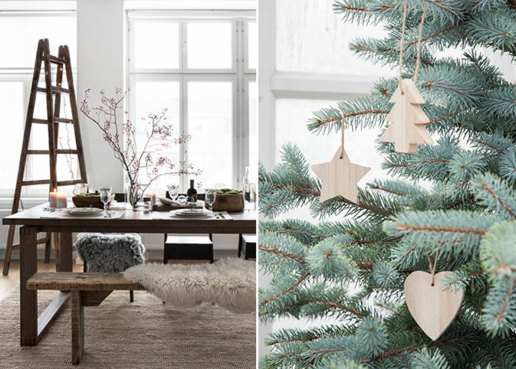 Naturmaterial ger en rustik julkänsla till hemmet