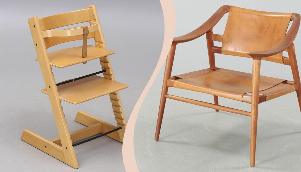 En Tripp trapp-stol och fåtöljen Bambi.