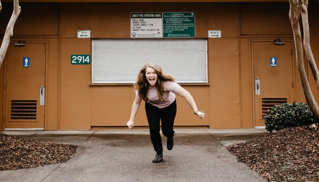 En kvinna som är nybörjare på att springa.