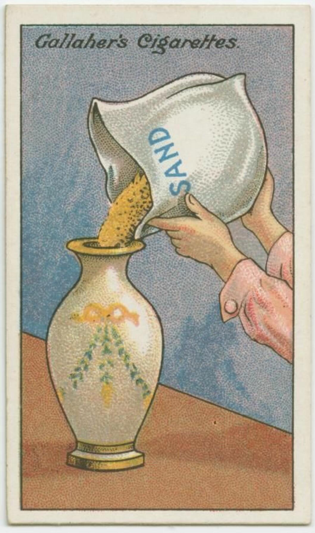Fyll vasen med sand.