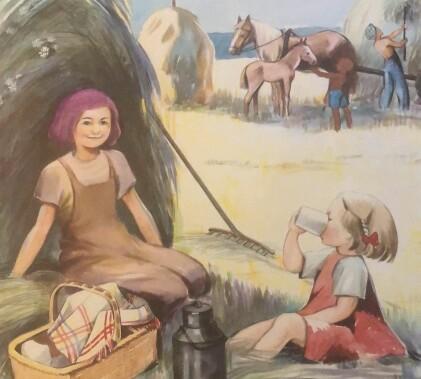 Ommålad kalenderbild: Två flickor fikar i skuggan av en höbal. En av dem har fått lila hår.