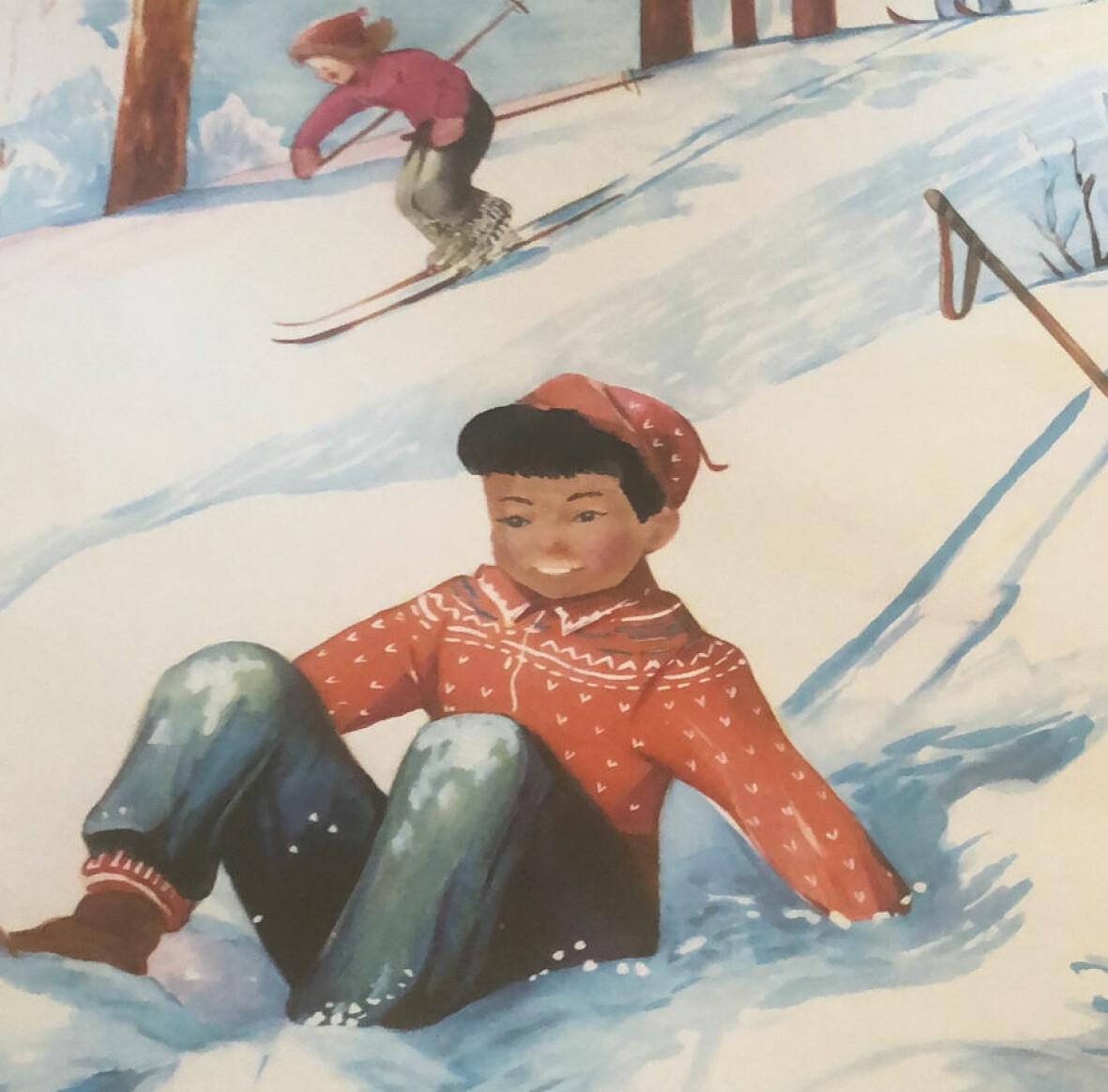Ommålad kalenderbild. En pojke med brun hy har ramlat och sitter i en snöig backe. Bakom honom åker en flicka förbi på skidor.