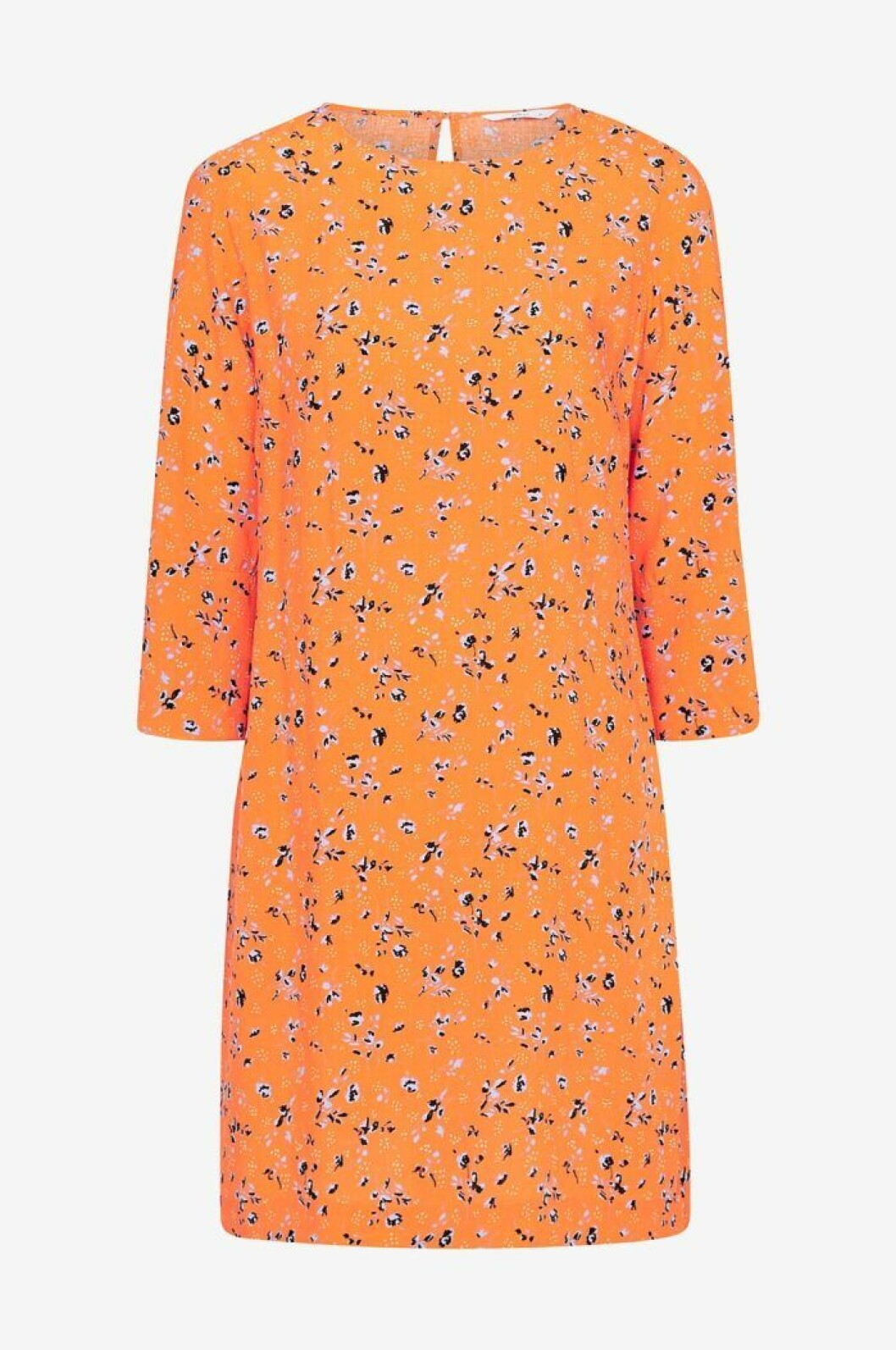 Orange blommig klänning