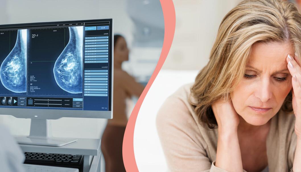 Till vänster mammografibild, till höger en oroad kvinna.