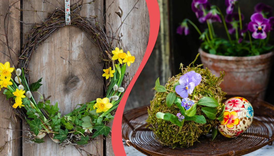 Till vänster: En dörrkrans till påsk. Till höger: Ett grönt mossägg att dekorera med i påsk.
