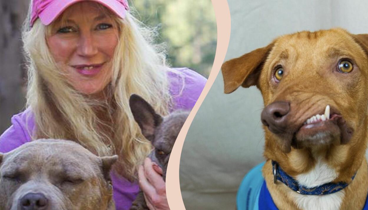 Till vänster Liesl Wilhardt, till höger hunden Picasso.