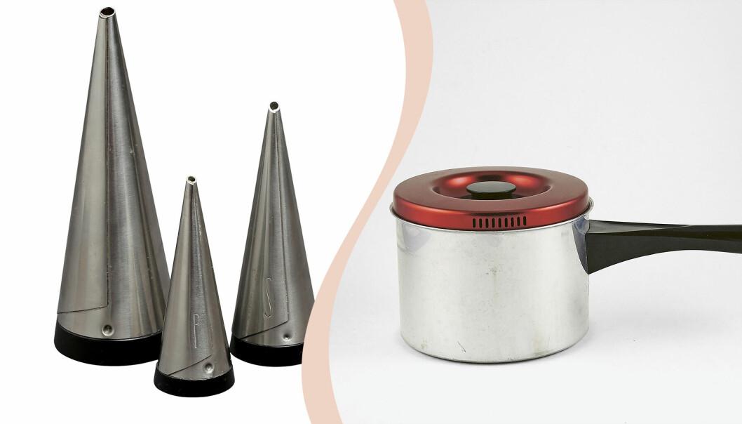 Till vänster tre konformade stålströare, till höger kastrull med rött lock och svart handtag.