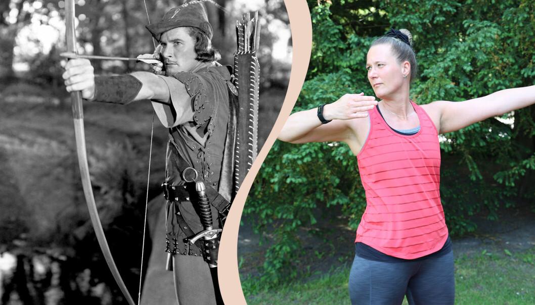 """Delad bild. Till vänster Robin med pilbåge, till höger Linda Hallin som gör övningen """"Robin Hood""""."""