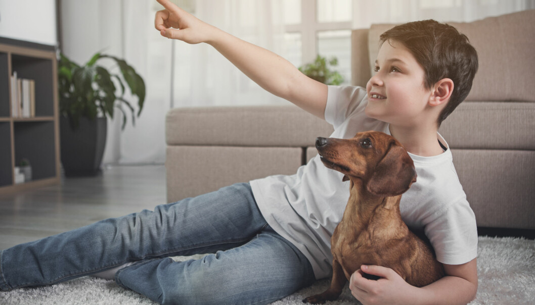 Liten pojke håller om en hund, en tax.
