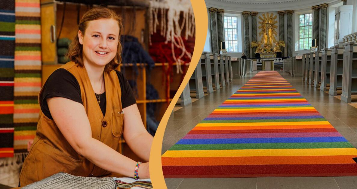 Bild på väverskan Maria Ljunggren och bild på en en matta i regnbågsfärger som ligger i en altargång i en kyrka.