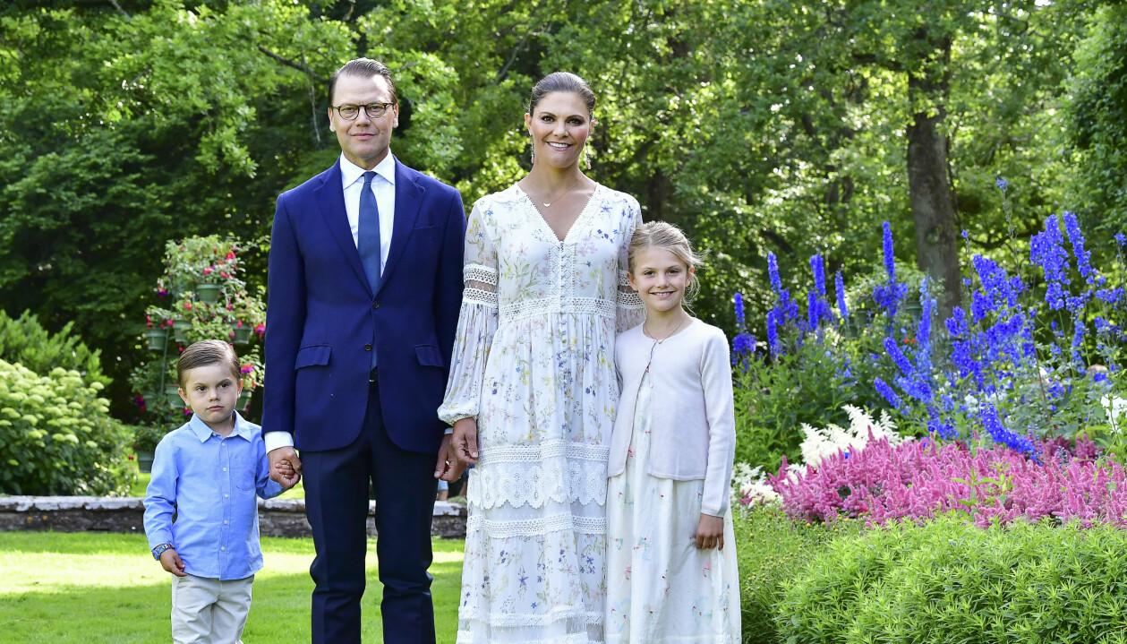 Prins Oscar, prins Daniel, kronprinsessan Victoria och prinsessan Estelle, i samband med firandet av Victoriadagen på Sollidens Slott på Öland
