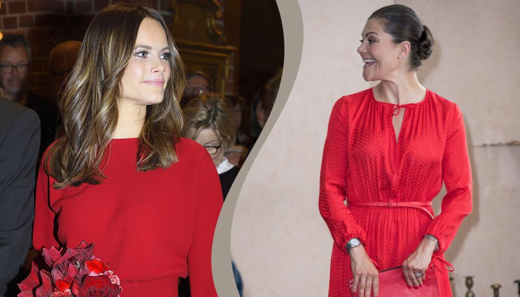 Prinsessan Sofia och kronprinsessan Victoria i röda klänningar
