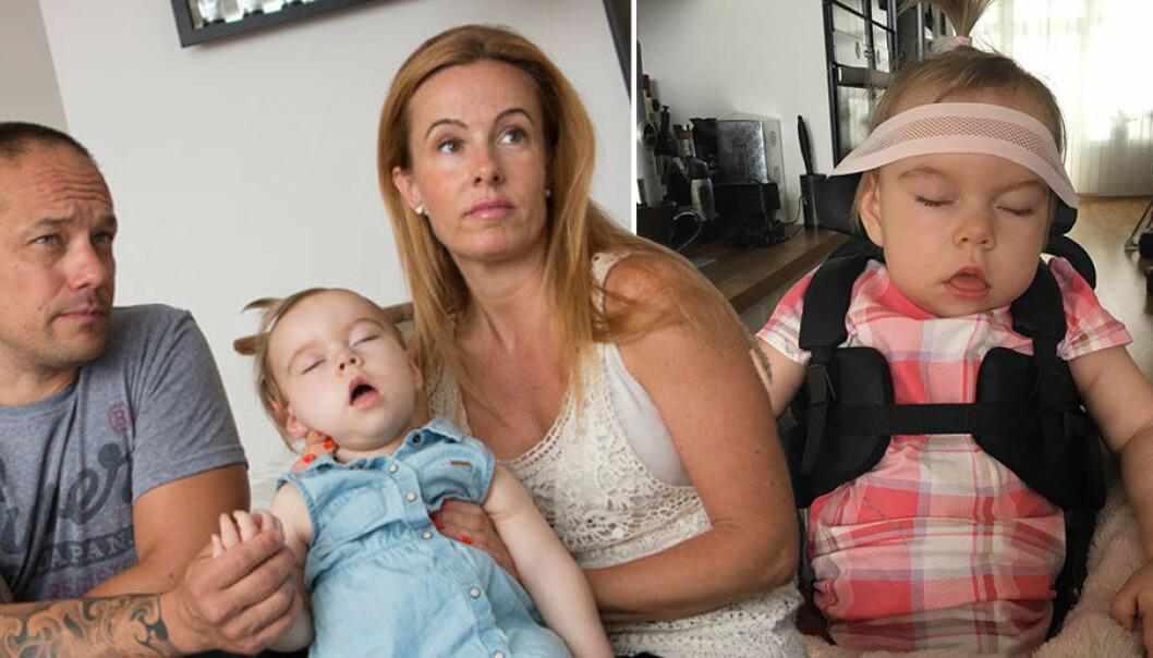 Eleonora Aldin föddes med en mutation på genen KIF1A och behöver hjälp med allt. Försäkringskassan har beviljat familjen 10 minuters assistans per dygn.