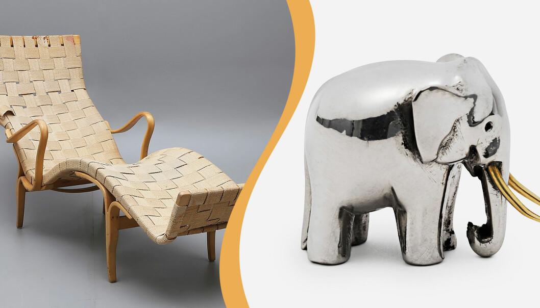 Kollage med Pernilla och elefant från Svenskt Tenn