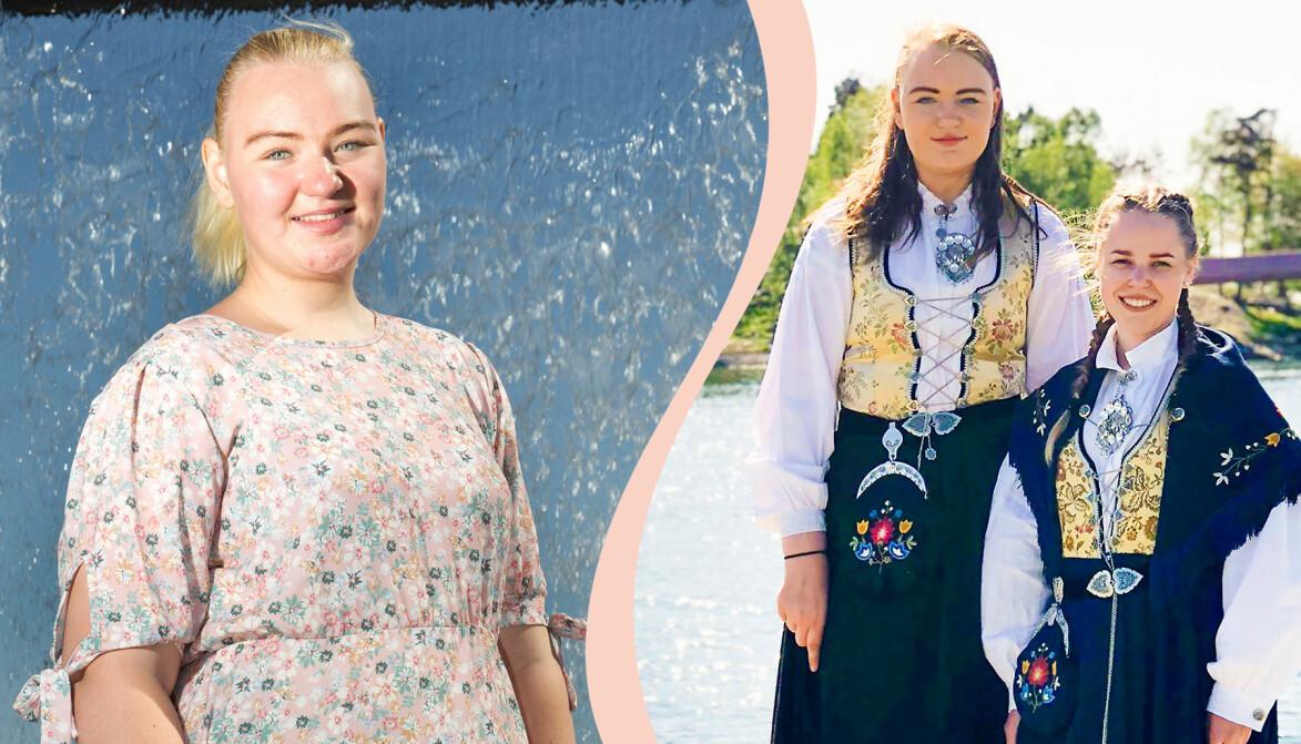 Regine Bjørkmann är 21 år och bor i Kristiansand. Hon är 187 centimer och sprider sina erfarenheter av att vara lång kvinna i sociala medier. Här bredvid sin betydligt kortare väninna Rebecca Lea.