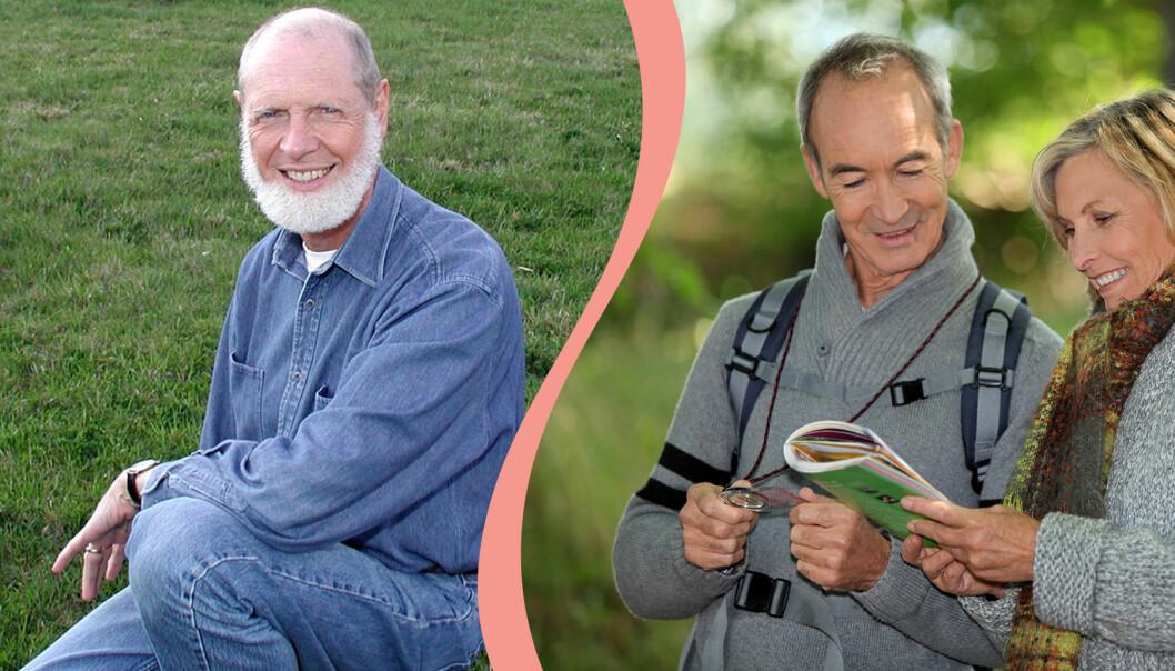 Till vänster, Psykoterapeuten Lennart Björklund ger tips om sunda kärleksrelationer, till höger, par är ute i skogen tillsammans
