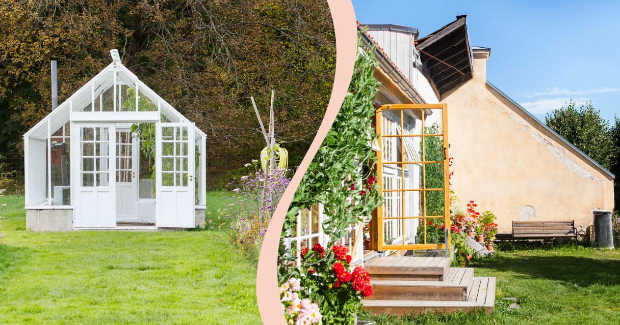 Grönskande trädgårdar med gräsmattor