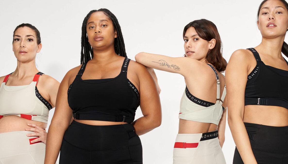 Fyra kvinnor med olika former i Röhnish nya kollektion som är utvecklad för PMS och hormonella cykeln. Kläderna har reglage för att kunna anpassas till de månatliga förändringarna för kvinnokroppen under menscykeln.