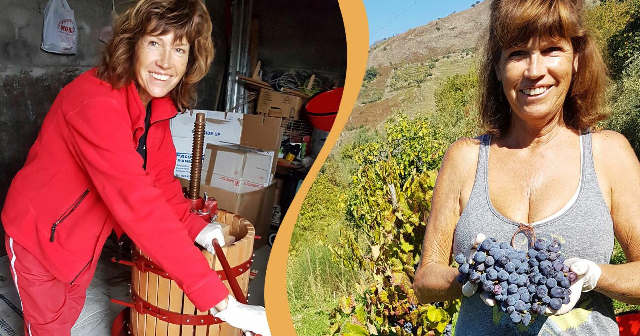 Två bilder på vinbonden Rose-Marie på Sicilien.