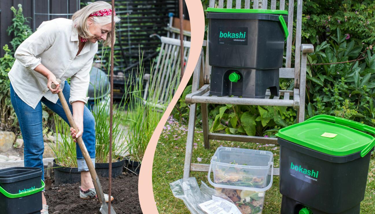 Delad bild. Till vänster: Anni Jähde gräver ner sitt färdiga bokashimaterial. Till höger: Två bokashikomposter, matavfall att kompostera och strö med mikroorganismer för att starta fermenteringen i påse.