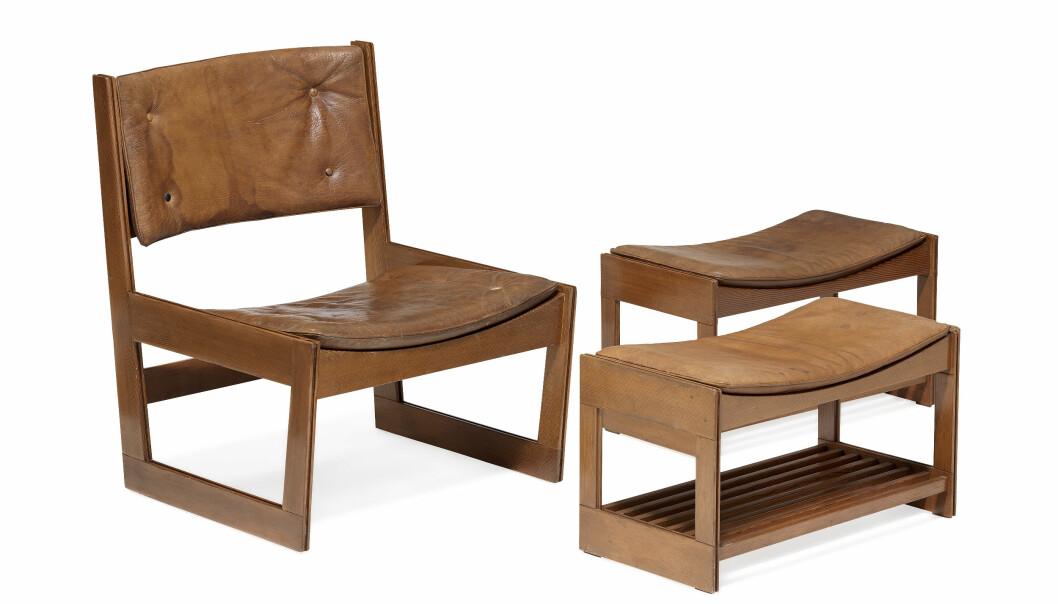 Sällsynt stol med fotpallar av Greta Jalk tillverkade av J. H. Johansens Eftf.