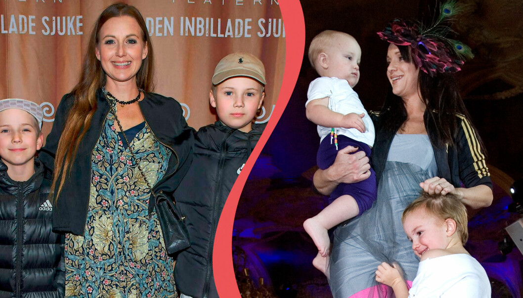 Sanna Lundell på biopremiär med två av sina söner, Lo och Igor. Sofia Wistam med två av sina barn.