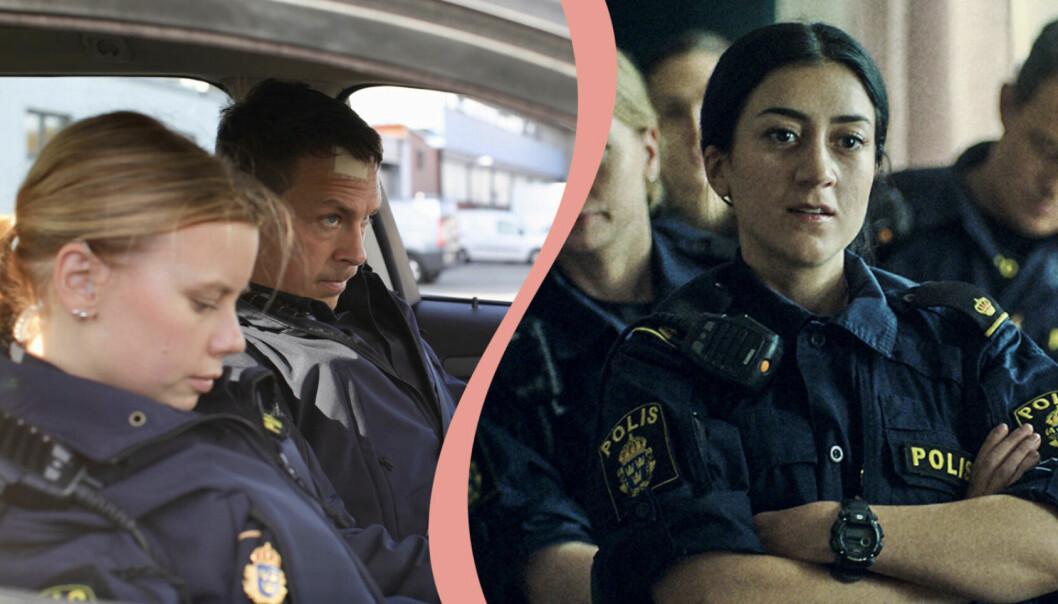 Till vänster, poliserna Sara och Magnus, spelas av Amanda Jansson och Oscar Töringe.