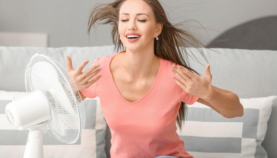 En kvinna sitter framför en fläkt och försöker kyla sig. Hennes långa bruna hår blåser bakåt och hon verkar avslappnad.