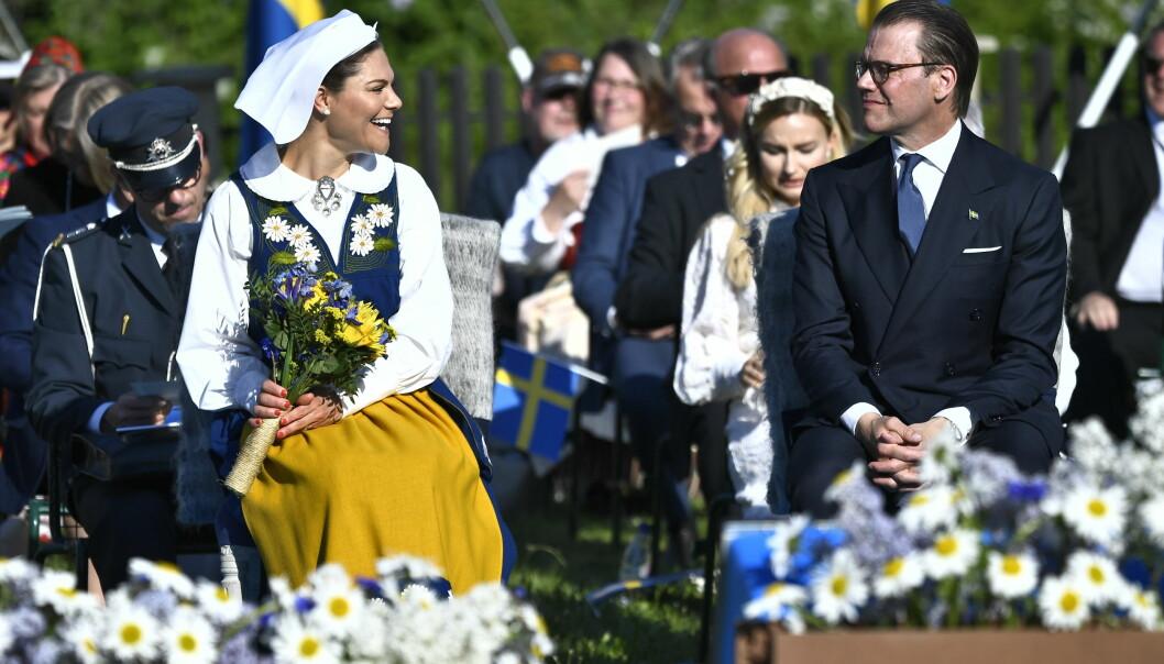 Kronprinsessan Victoria och prins Daniel under Sveriges nationaldag den 6 juni 2021.