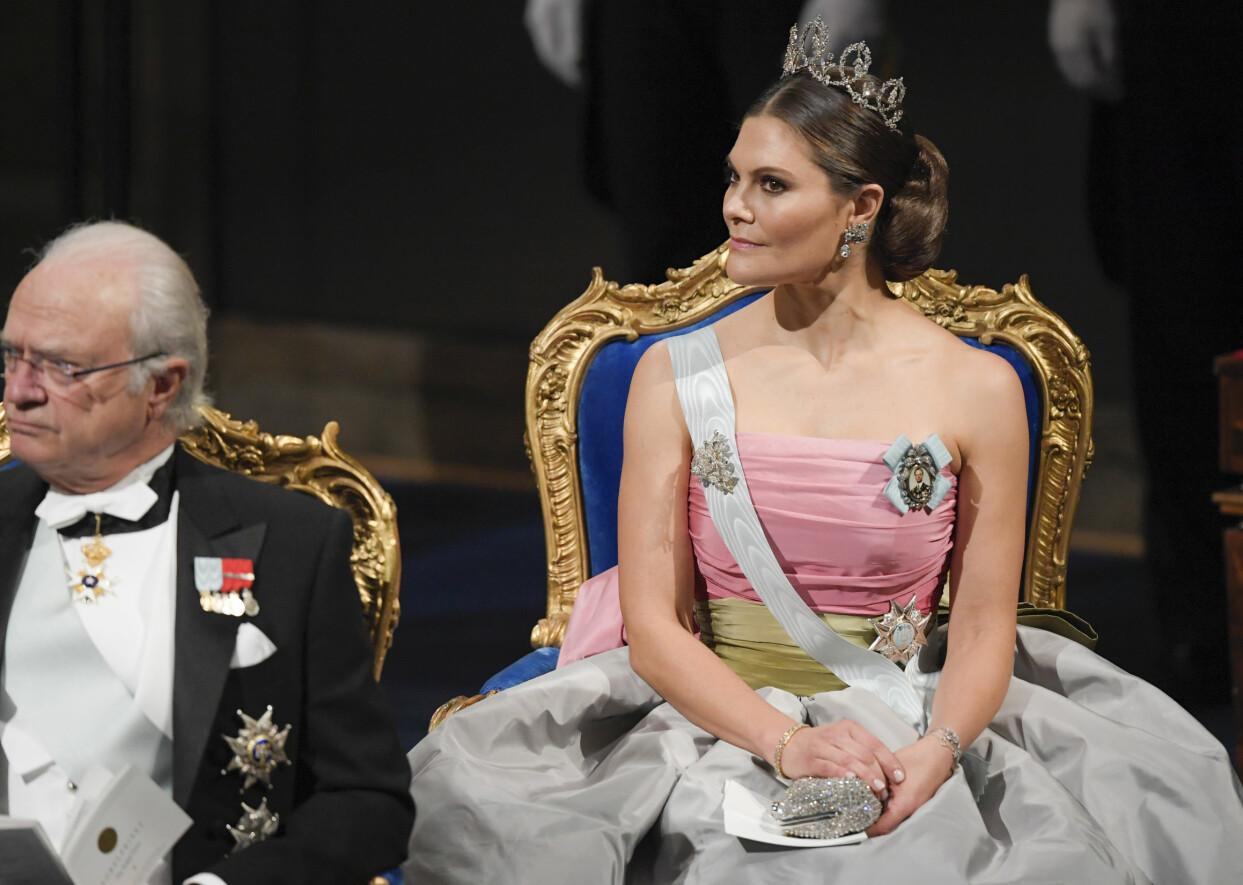 Kronprinsessan Victoria under utdelningen av Nobelpriset 2018.