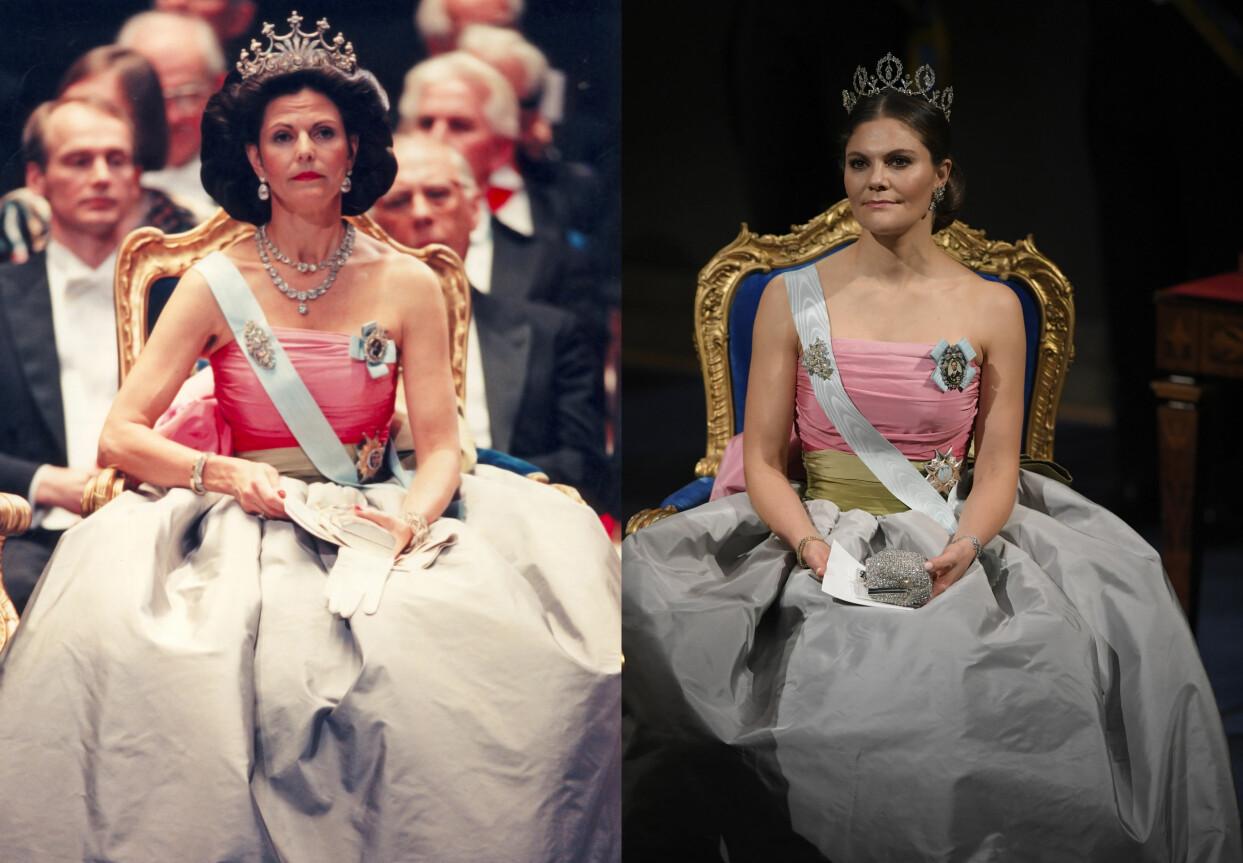 Drottning Silvia under Nobelprisets utdelning 1995 och kronprinsessan Victoria under Nobelprisets utdelning 2018.