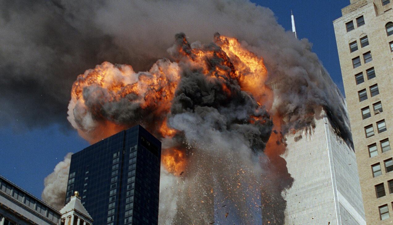 World Trade Center i häftig brand vid 11 september-attacken.