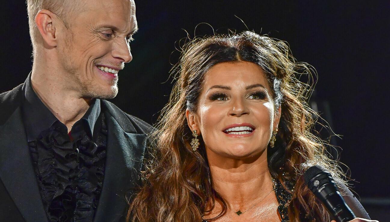 Carolina Häggkvist tillsammans med sin danspartner Tobias Karlsson i Let's Dance 2021.