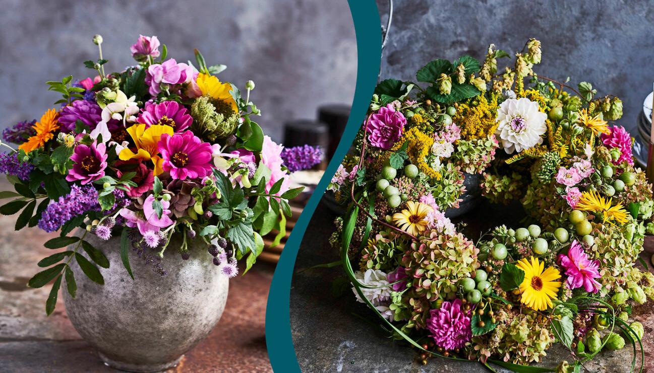 Två olika arrangemang med sensommarblommor. Till vänster: En rokoko-boll i kruka. Till höger: En krans med sensommarens vackraste blommor.