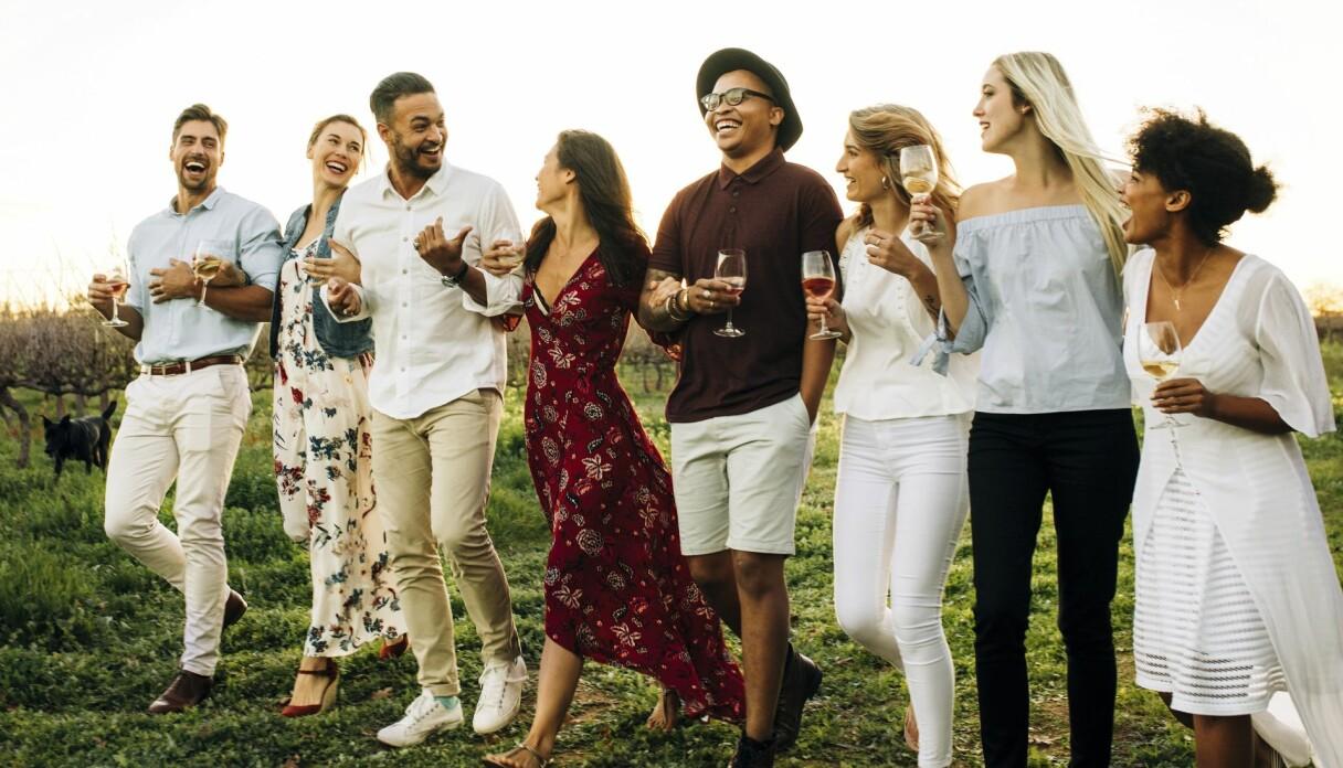 Glada människor dricker rosévin av olika slag.