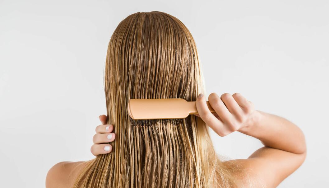 Kvinna syns bakifrån, borstar sitt blöta hår.