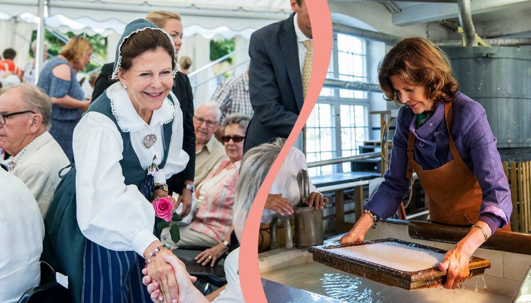 Silvia skakar hand med äldre på de gamlas dag och gör papper för hand på Lessebo pappersbruk.