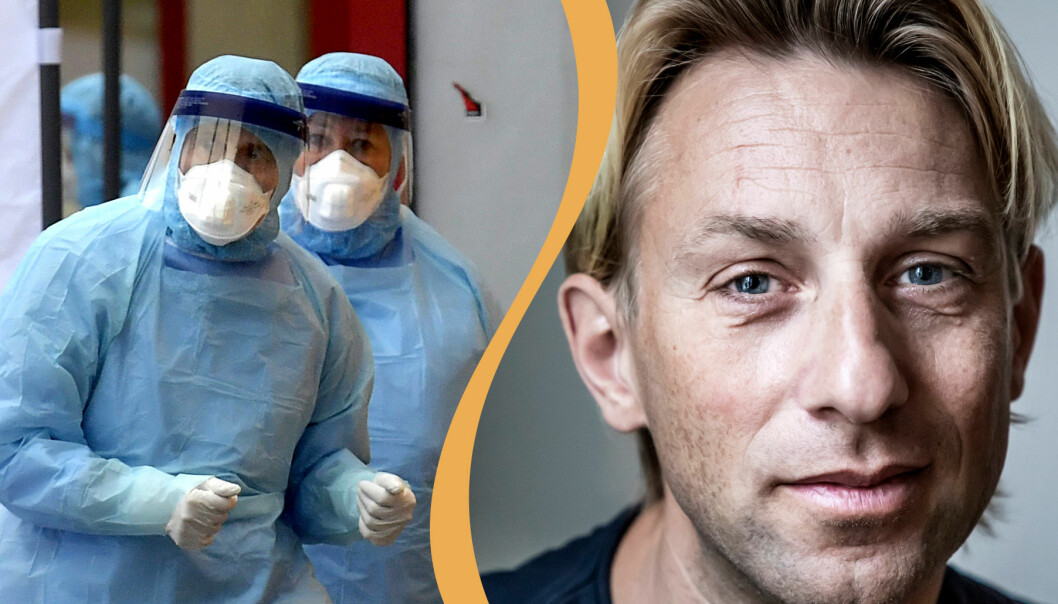 Sjukvårdspersonal i skyddskläder och Anders Hansen