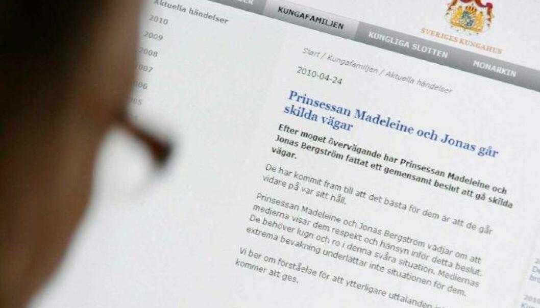 Skärmdump av Hovets pressmeddelande om Jonas och Madeleines separation.
