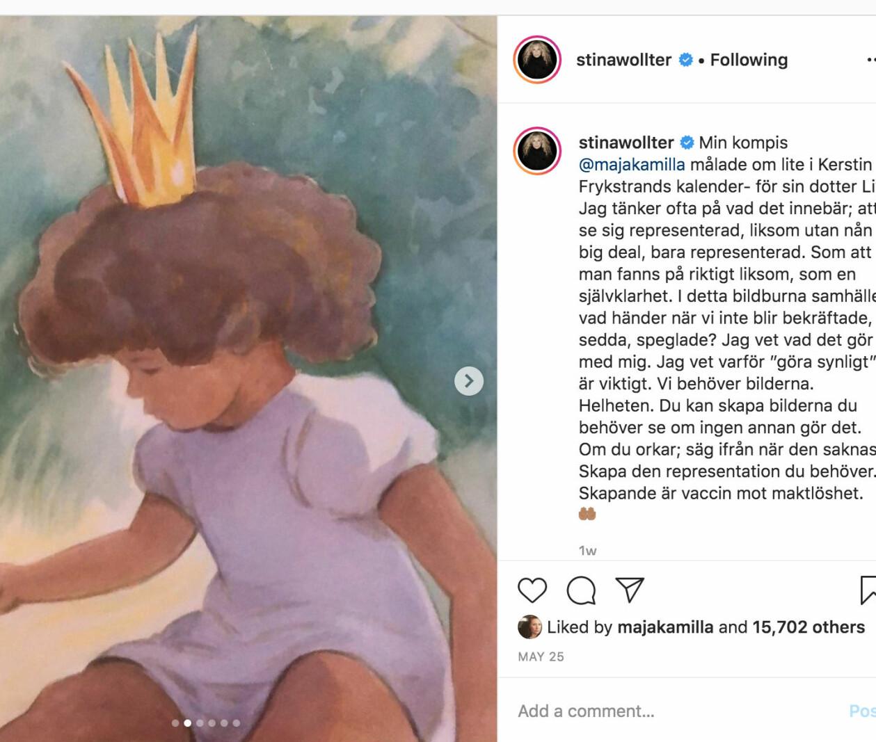 Skärmdump från Stina Wollters instagram. Majflickan har brunt hår och hy. Brevid står Stinas hyllande text.