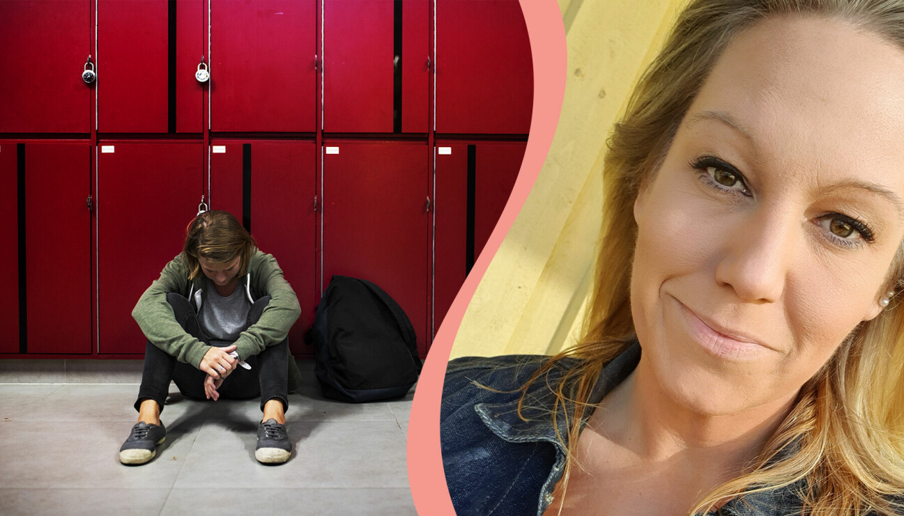 Till vänster. en pojke sitter vid skåp i skolan, till höger, författaren och debattören Malin Meekatt Birgersson.