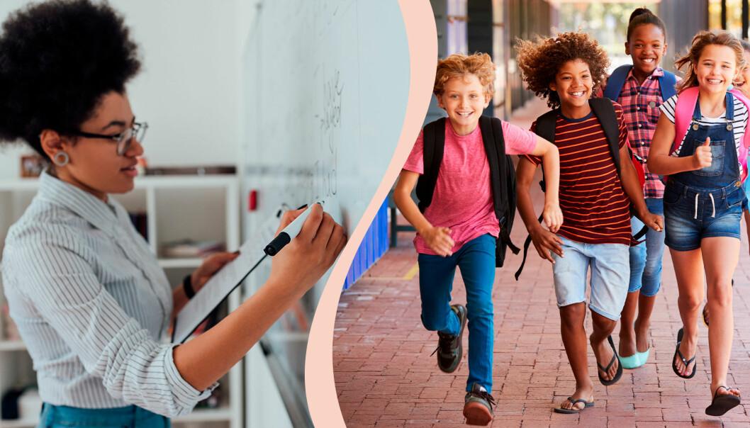 Lärare skriver på tavlan, barn springer ut från skolan.