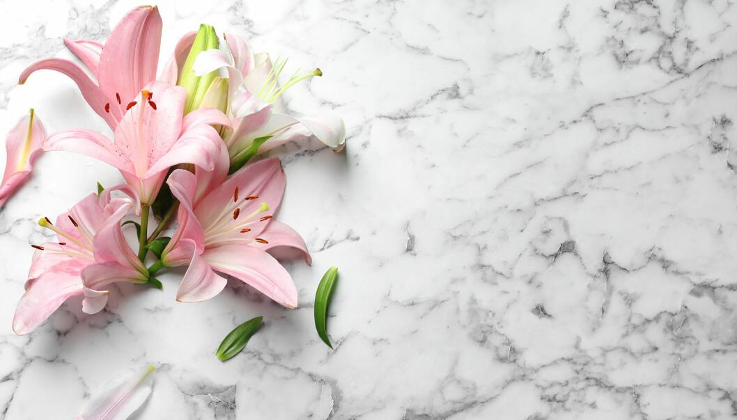 Marmorskiva med liljor