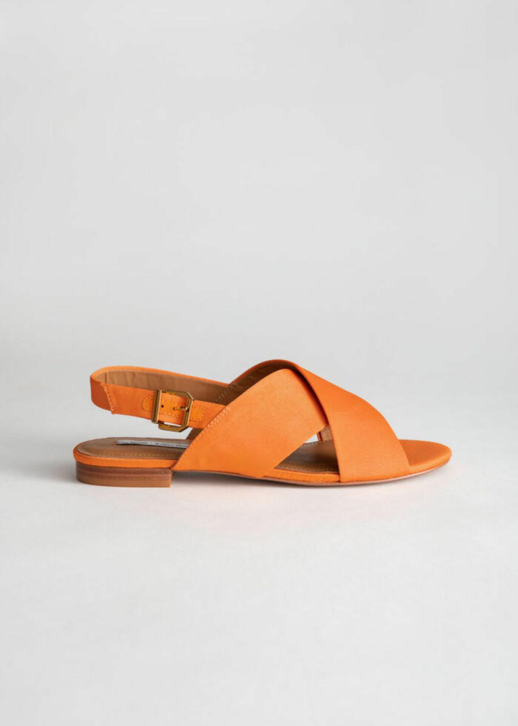 Orange slingback sandal utan klack