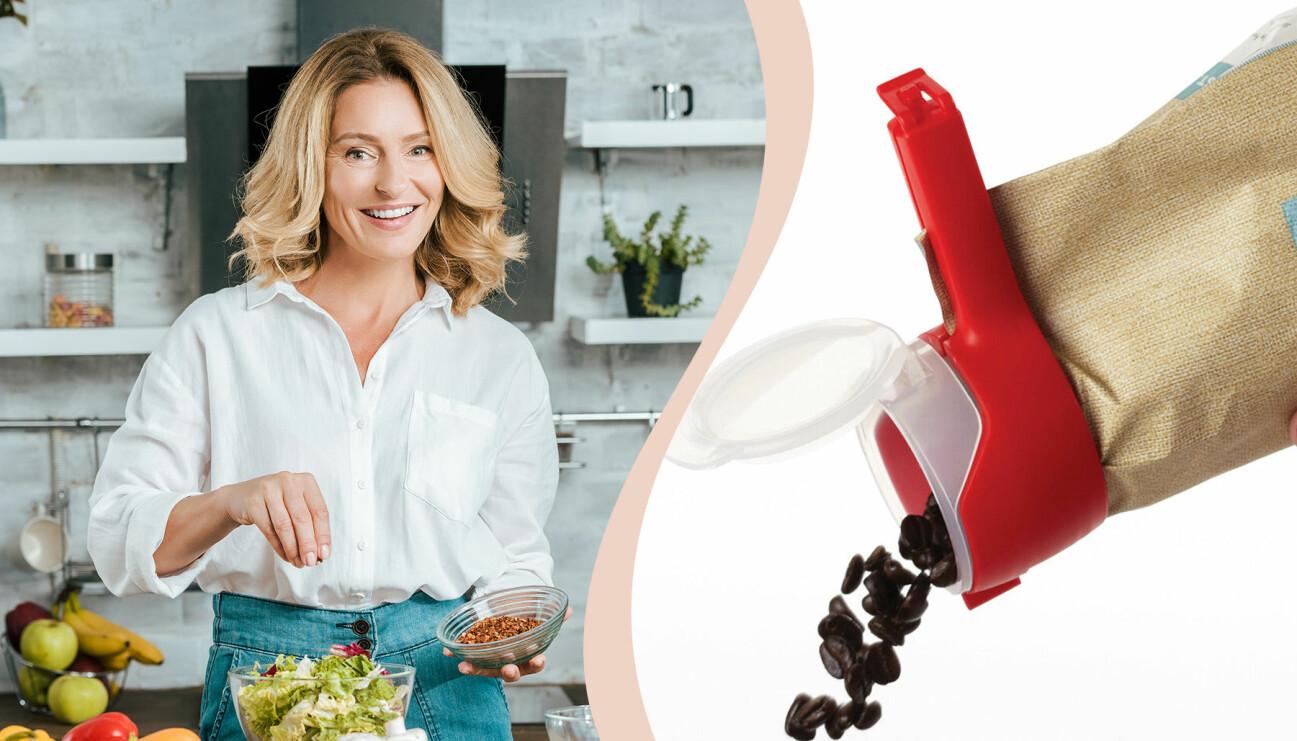 Kvinna och smarta prylar för köket.