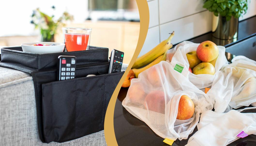 Fjärkontrollshållare på soffan och frukt i nätpåsar i köket.