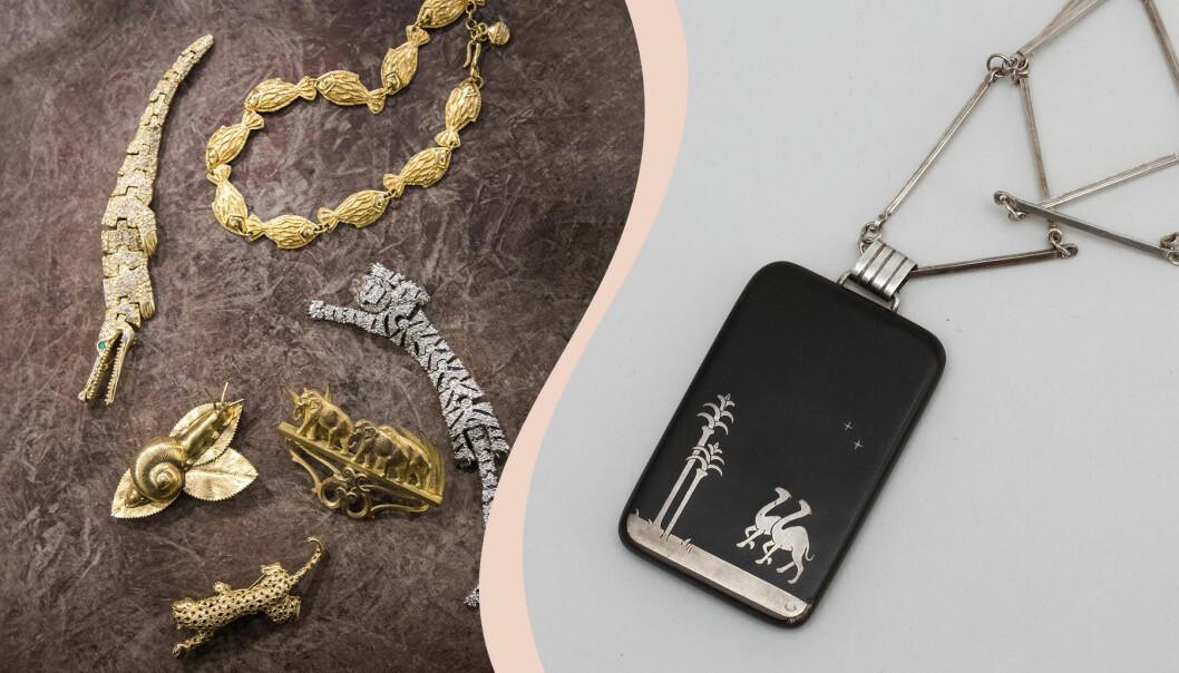 Till vänster flera smycken med djurmotiv, till höger svart halssmycke med isolitdetaljer.