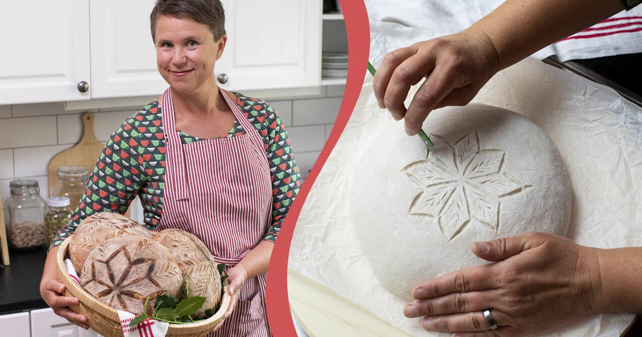 Till vänster: Lisa Södergren håller en korg med nybakat och vackert dekorerat surdegsbröd. Till höger: Lisa Södergren visar hur hon snittar surdegsbröd.