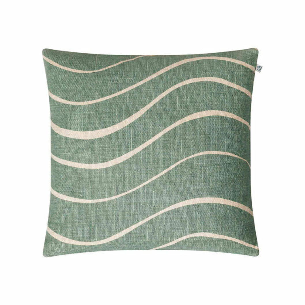 Grön kudde till soffam